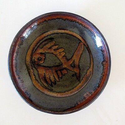 Lustre Glaze Stoneware Bowl with Fish Motif by J. Young, Melbourne, Australia