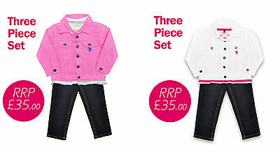 Girls Jeans, Denim Jacket & Top 3 Piece Set, White or Pink, US Polo Association