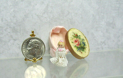 Dollhouse Miniature Porcelain Baby Doll in  Oval Box by Silvia Leiner, Germany