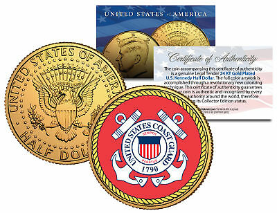 United States COAST GUARD *Emblem* 24K Gold Plated JFK Half Dollar Coin MILITARY