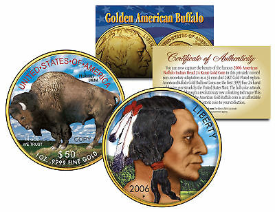 Colorized 2006 AMERICAN GOLD BUFFALO Colorized Indian Coin * 24K Gold Plated *