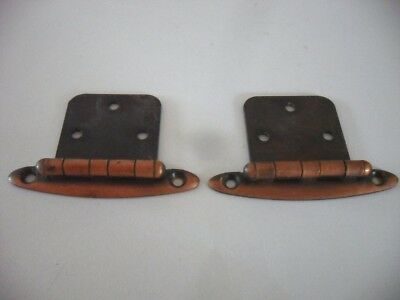 Vintage Antique COPPER Plated HINGES  for Flush Mounted Cabinet Doors Art Deco