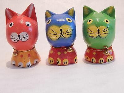 Set of 3 Wooden Cats Hand Carved&Painted Wood Bali Home Decor Sculpture  #N0194