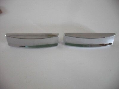 Two Vintage 1960's CHROME Plated DRAWER Pulls BIN Cup Finger Style Art Deco