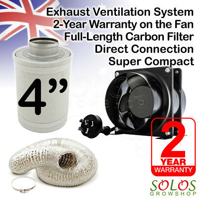"4""/100mm HYDROPONIC INLINE EXHAUST FAN CARBON FILTER DUCTING GROW VENTILATION"