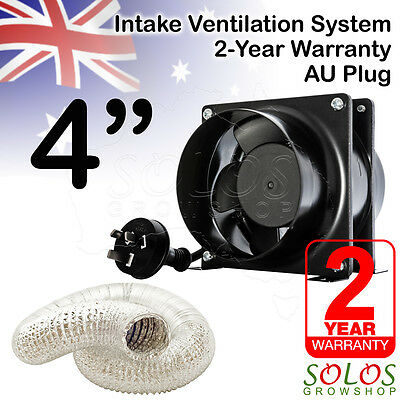 "100mm 4"" HYDROPONIC VENTILATION INTAKE COMBO SET FAN DUCTING GROW TENT ROOM"
