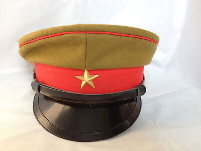 WWII Imperial Japanese Army Officer's Wool Visor Crusher Cap Hat Size M - JP001