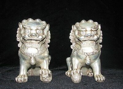 Chinese old Tibetan silver carved pair foo dog lion statue