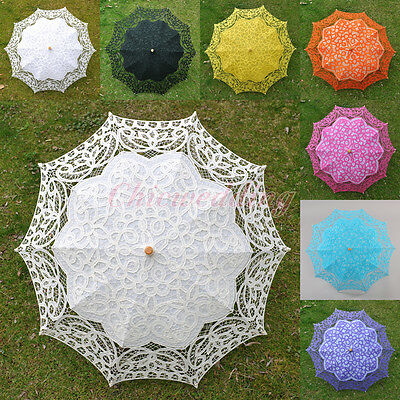 Handmade Battenburg Lace Parasol Wedding Party Decor Floral Cotton Sun Umbrellas