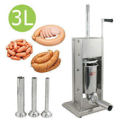 New Sausage Stuffer Vertical Stainless Steel 3L/7LB 7 Pound Meat Filler 4 nozzle