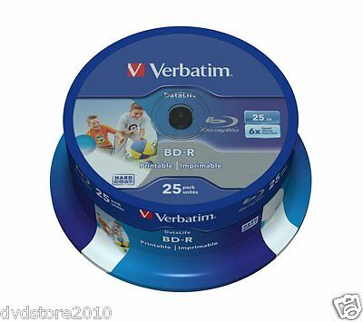 50 BD -R Verbatim Print 43811 Stampabili 25GB 6X BluRay Cakebox Printable Vuoti