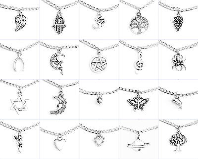 Curb Chain Leaf Hamsa Tree Owl Wishbone Pentagram Heart Bell Star Charm Anklet