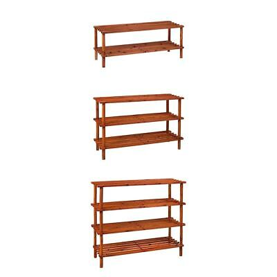 Walnut Tier Slated Shoe Rack Wooden Storage Stand Organiser New By Home Discount
