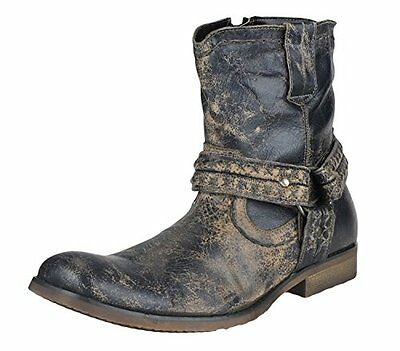 Bed Stu Rusch Men's Vintage Distressed Leather Motorcycle Boots - Black Lux