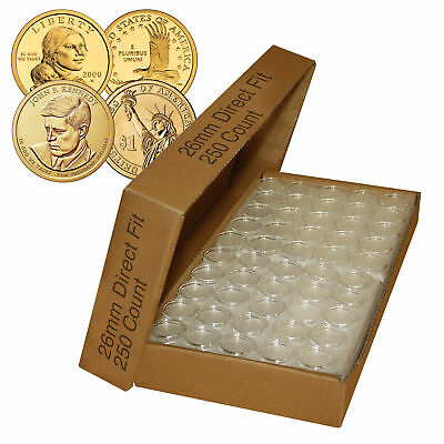 250 Direct Fit Airtight 26mm Coin Holder Capsules For PRESIDENTIAL $1 /SACAGAWEA