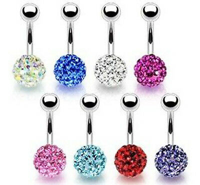 210pcs Double Czech Gems navel belly ring Button Barbells Body Piercing 21colors