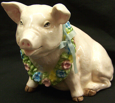 Schmid Ceramic Pig with Wreath Musical Figurine Through the Eyes of Love