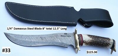 "SALE** #33 - CUSTOM HAND MADE ""DAMASCUS""- HUNTING, SURVIVAL AND FIGHTING KNIFE!"