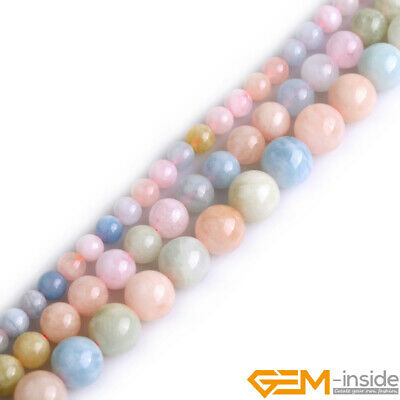 "Natural Stone Colorful Morganite Round Beads For Jewelry Making 15"" 6mm 8mm 10mm"