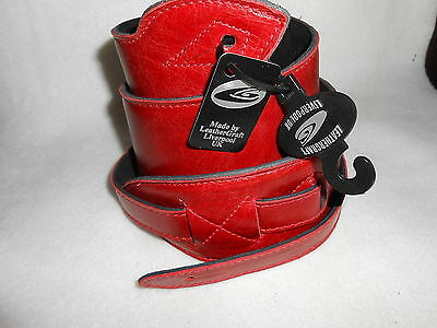"""Uk Made Antique Red 2.75"""" Wide Padded Real Leather Soft Adjustable Guitar Strap"""