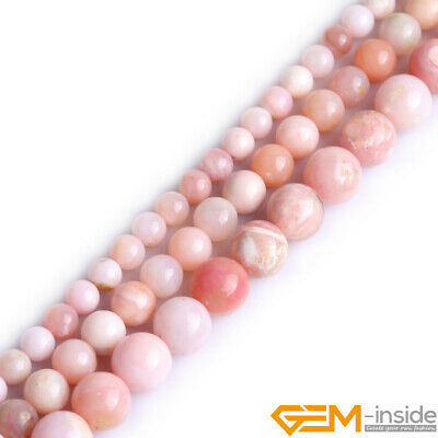 """Natural Gemstone Mixed Pink Opal Round Loose Beads For Jewelry Making 15"""" YB"""