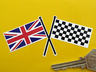 """UNION JACK & CHEQUERED Crossed Straight Flags Car STICKER 4"""" Race Racing Bike"""