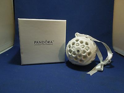 Pandora 2011 Porcelain Ceramic Christmas Ball Ornament in Original Box White