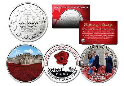 TOWER OF LONDON REMEMBERS Set of 3 Royal Canadian Mint Medallion Coins POPPIES