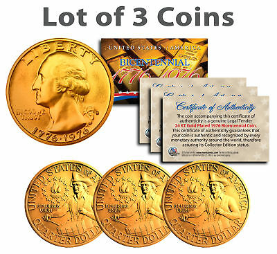 Bicentennial 1976 Quarters US Coins 24K GOLD PLATED w/Capsules & COA *Lot of 3*