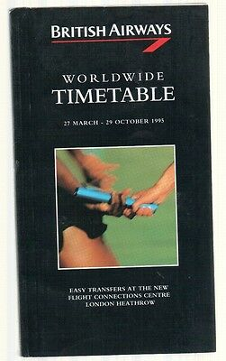 British Airways Worldwide Timetable Summer 1995 With Seat Map Concorde Dc10 747