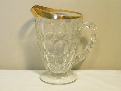 Vintage Jeannette Footed Thumbprint Pitcher with Gold Trim VFC