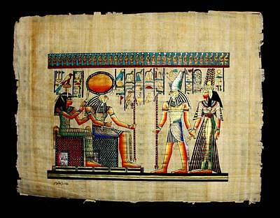 Rare Authentic Hand Painted Ancient Egyptian Papyrus Nefertari w/ Goddess Horus