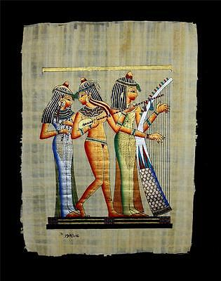 "Rare Authentic Hand Painted Ancient Egyptian Papyrus 13""x17"" Musician Pharaohs"