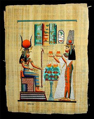 "Rare Authentic Hand Painted Ancient Egyptian Papyrus 13""x17"" Nefertari Offerings"