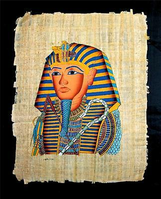Rare Authentic Hand Painted Ancient Egyptian Papyrus King Tut Ankh Amun Regalia