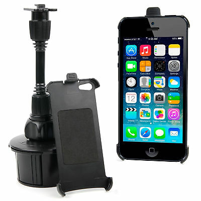 Extra Secure InCar Cup Holder Mount W/ Custom Made Holder For Apple iPhone 5