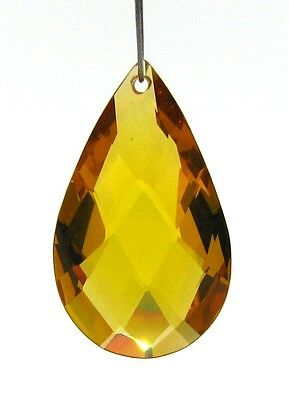 2 GOLD CUBIC ZIRCONIA 20mm Faceted Teardrop Beads