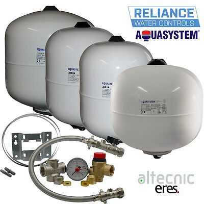Aquasystem Potable Expansion Vessels 2,8,12,19,24 Ltr & Sealed System Kit/Brckt