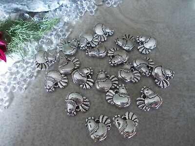 20 x Chicken,Hen,Silver Tibetan Metal Charms, Great for jewellery making