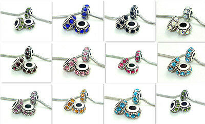 5pcs crystal SILVER PLATED European Charms Beads fit Bracelets multi-color