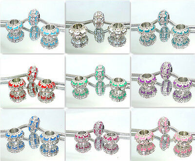 5pcs  crystal SILVER PLATED European Charms Beads fit Bracelets multi-color se14
