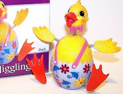 NEW Fitz & Floyd EASTER JIGGLING DUCK 2004 It's A Cute Bobble Head MINT In Box