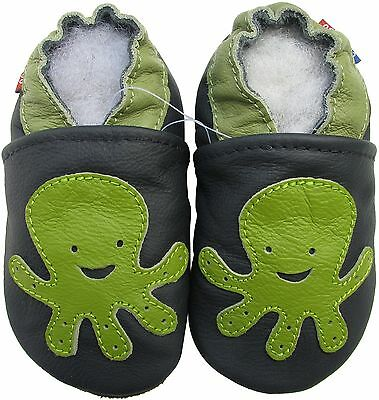 carozoo gecko blue 4-5y new soft sole leather baby shoes