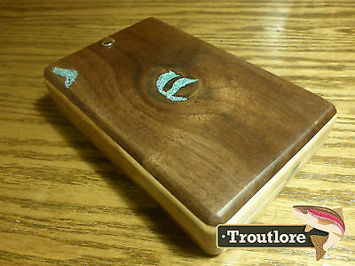 Walnut, Turquoise & Tap Maple Fly Box - New - Fly Fishing Box Hand Made Case