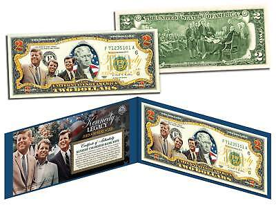 KENNEDY BROTHERS LEGACY Colorized $2 Bill US Legal Tender ROBERT & TED & JOHN F