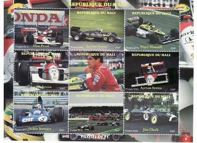 Formula One Racers on Stamps - 9 Stamp  Sheet of 9  - 13H-094