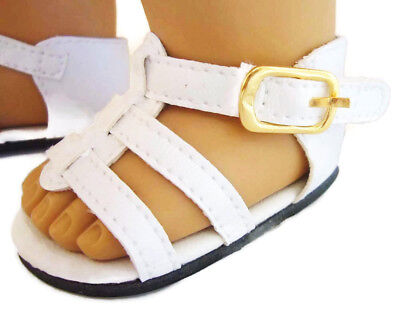"White Gladiator Sandals Shoes made for 18"" American Girl Doll Clothes"