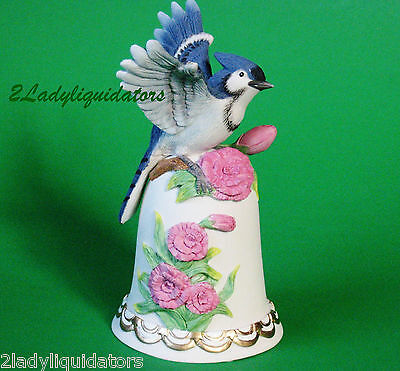 Beautiful Blue Jay On Bell Bird Flowers Floral Misic Box Wind Up Heritage House