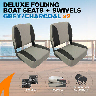 2 x Deluxe Gray/charcoal Boat Folding Boat Seats w/ Swivels