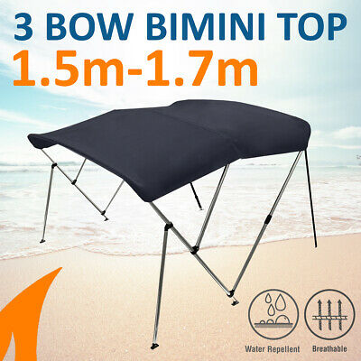 3 Bow 1.5m-1.7m Blue Boat Bimini Top Canopy Cover w/ Rear Poles & Sock